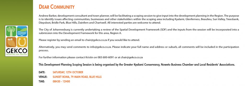 Development Planning Scoping Session- 12th October